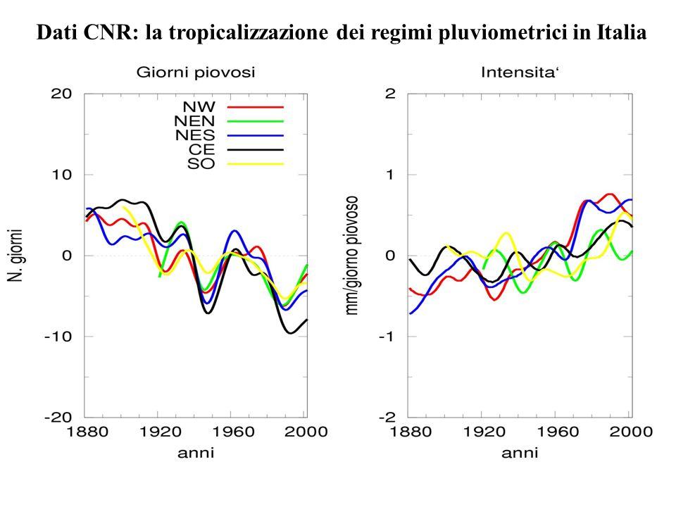 Dati CNR: la tropicalizzazione dei regimi pluviometrici in Italia