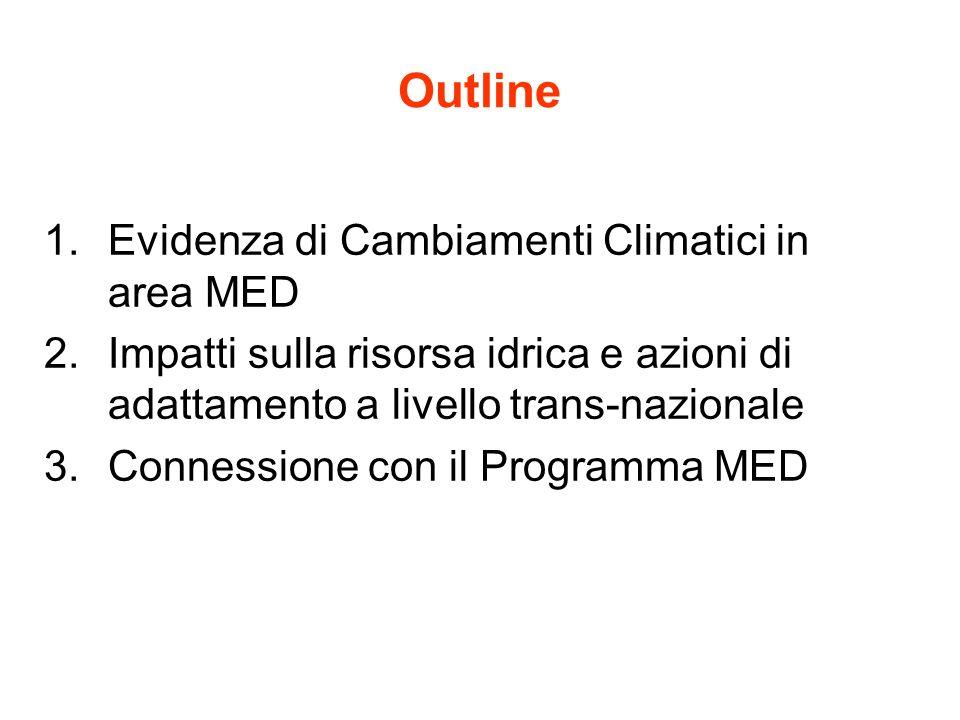 Outline 1.Evidenza di Cambiamenti Climatici in area MED 2.Impatti sulla risorsa idrica e azioni di adattamento a livello trans-nazionale 3.Connessione