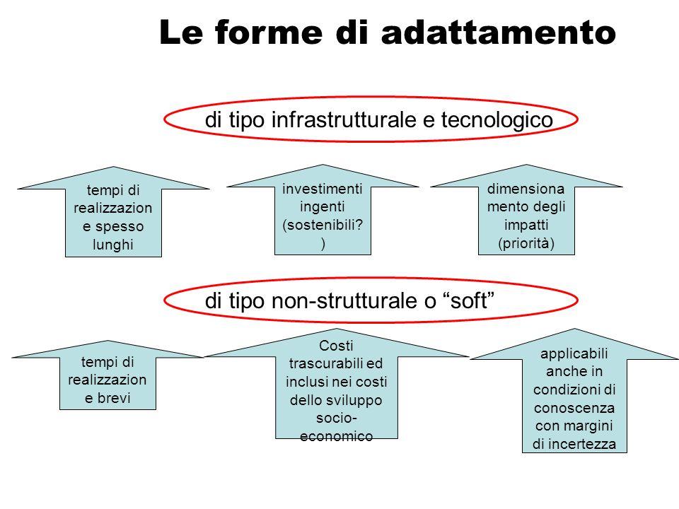 Le forme di adattamento di tipo infrastrutturale e tecnologico tempi di realizzazion e spesso lunghi investimenti ingenti (sostenibili? ) dimensiona m