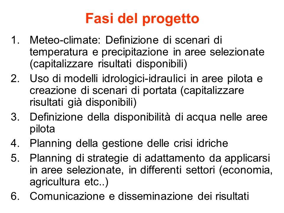 Fasi del progetto 1.Meteo-climate: Definizione di scenari di temperatura e precipitazione in aree selezionate (capitalizzare risultati disponibili) 2.