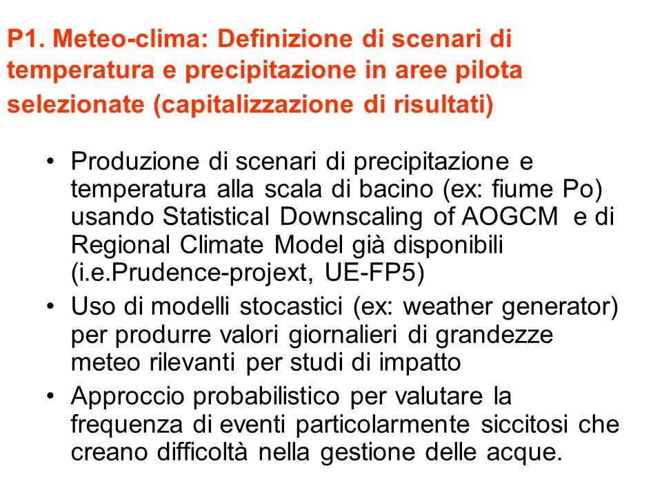 P1. Meteo-clima: Definizione di scenari di temperatura e precipitazione in aree pilota selezionate (capitalizzazione di risultati) Produzione di scena