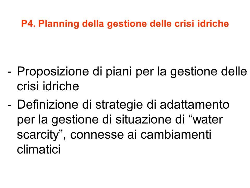 P4. Planning della gestione delle crisi idriche -Proposizione di piani per la gestione delle crisi idriche -Definizione di strategie di adattamento pe
