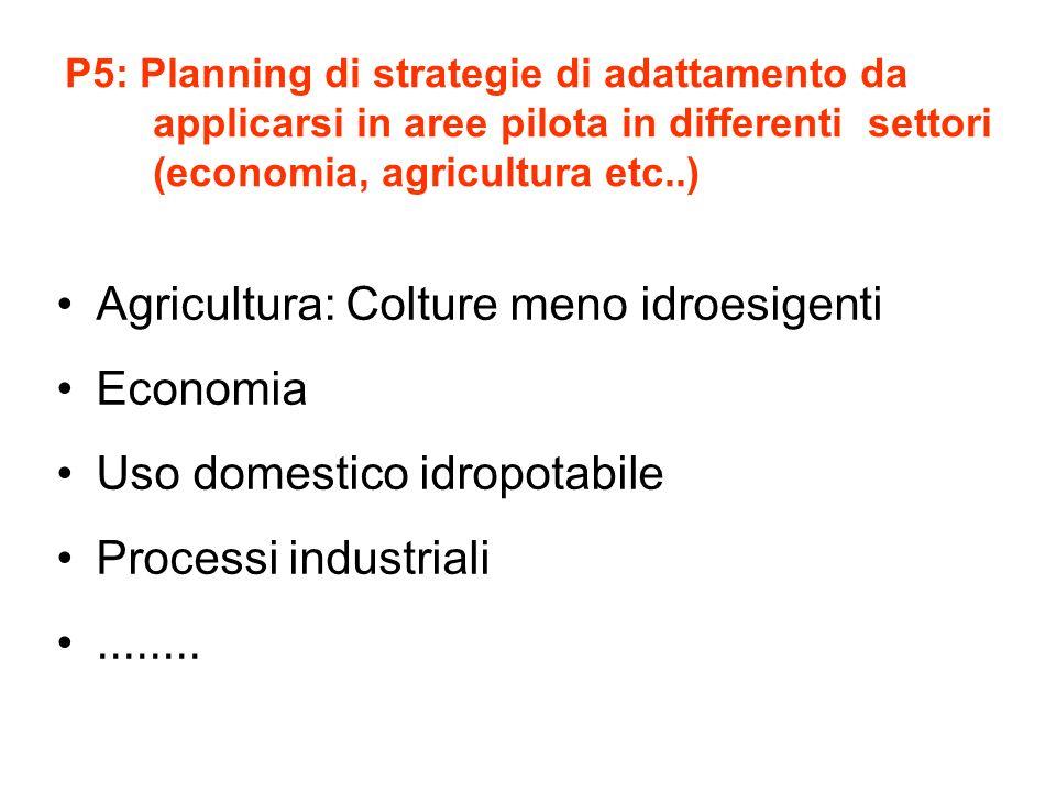P5: Planning di strategie di adattamento da applicarsi in aree pilota in differenti settori (economia, agricultura etc..) Agricultura: Colture meno id