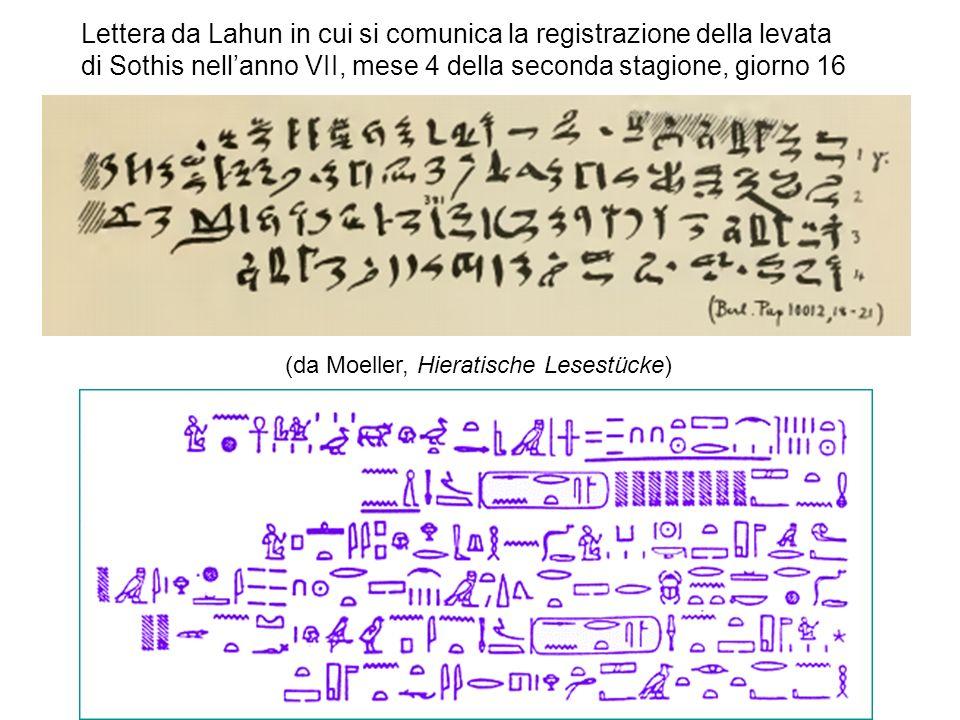 Lettera da Lahun in cui si comunica la registrazione della levata di Sothis nellanno VII, mese 4 della seconda stagione, giorno 16 (da Moeller, Hieratische Lesestücke)