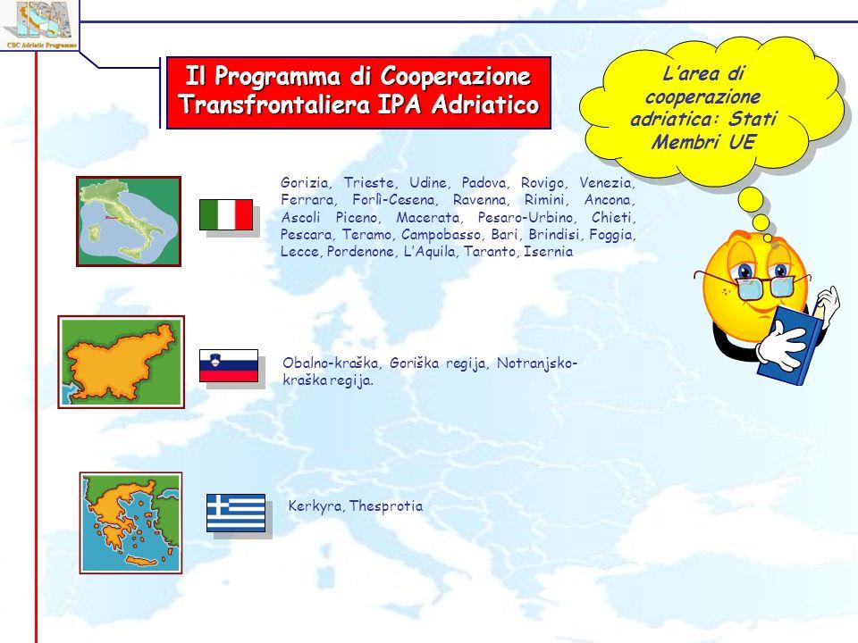 Larea di cooperazione adriatica: Stati Membri UE Gorizia, Trieste, Udine, Padova, Rovigo, Venezia, Ferrara, Forlì-Cesena, Ravenna, Rimini, Ancona, Asc