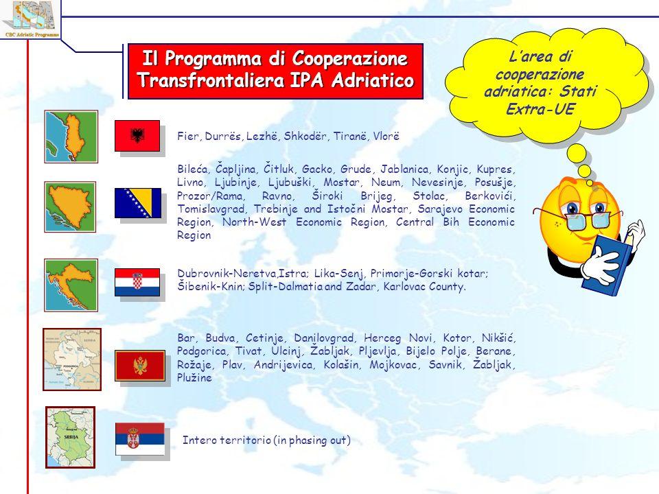 Larea di cooperazione adriatica: Stati Extra-UE Fier, Durrës, Lezhë, Shkodër, Tiranë, Vlorë Dubrovnik-Neretva,Istra; Lika-Senj, Primorje-Gorski kotar;