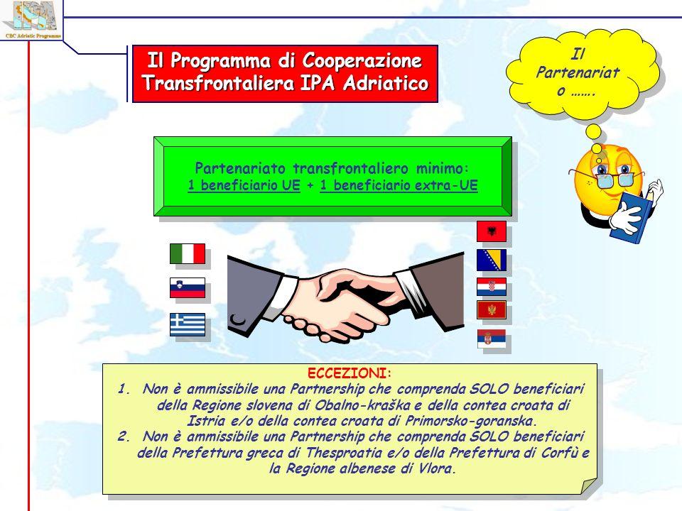 Il Programma di Cooperazione Transfrontaliera IPA Adriatico Il Partenariat o ……. Partenariato transfrontaliero minimo: 1 beneficiario UE + 1 beneficia