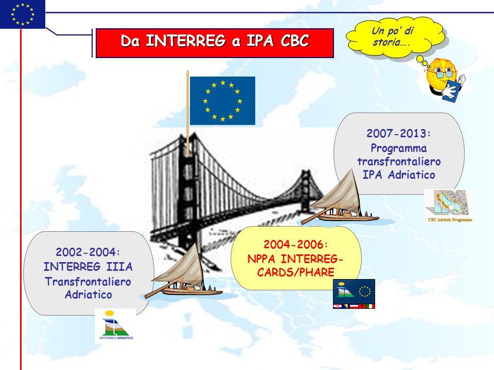 Da INTERREG a IPA CBC 2007-2013: Programma transfrontaliero IPA Adriatico 2004-2006: NPPA INTERREG- CARDS/PHARE 2002-2004: INTERREG IIIA Transfrontali