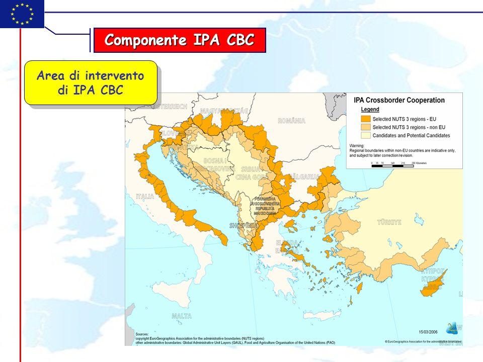 Le aree eleggibili sono i territori a livello NUTS 3 (o livelli equivalenti) lungo i confini terrestri o marittimi (max 150 km distanza) La cooperazione transfrontaliera è attuata attraverso Programmi Operativi multiannuali congiunti tra i Paesi partecipanti, approvati con decisione della CE I Programmi sono gestiti ed implementati secondo lAPPROCCIO INTERGRATO o secondo lAPPROCCIO TRANSITORIO Il budget dei Programmi IPA CBC si compone di fondi FESR e fondi IPA, + quote di co-finanziamento degli Stati La Cooperazione transfrontaliera si può attuare tra almeno 1 Stato membro e 1 Stato beneficiario, oppure tra 2 o più Paesi beneficiari.