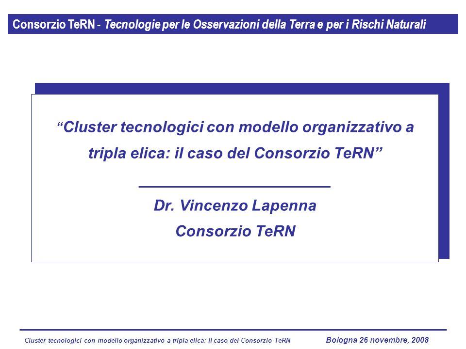 Cluster tecnologici con modello organizzativo a tripla elica: il caso del Consorzio TeRN Lagopesole 16 ottobre 2008 Consorzio TeRN - Tecnologie per le Osservazioni della Terra e per i Rischi Naturali Cluster tecnologici con modello organizzativo a tripla elica: il caso del Consorzio TeRN ______________________ Dr.