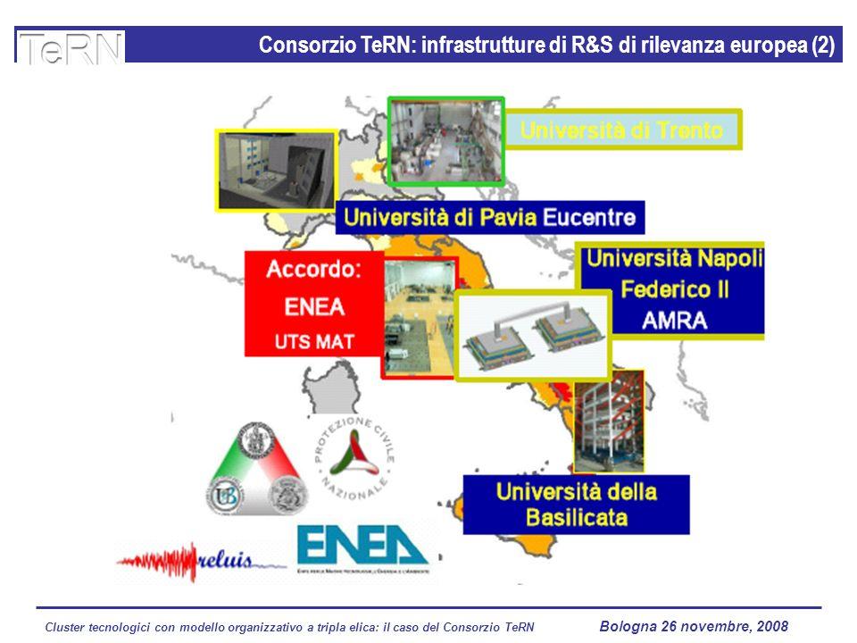 Cluster tecnologici con modello organizzativo a tripla elica: il caso del Consorzio TeRN Lagopesole 16 ottobre 2008 Consorzio TeRN: infrastrutture di R&S di rilevanza europea (2) Bologna 26 novembre, 2008