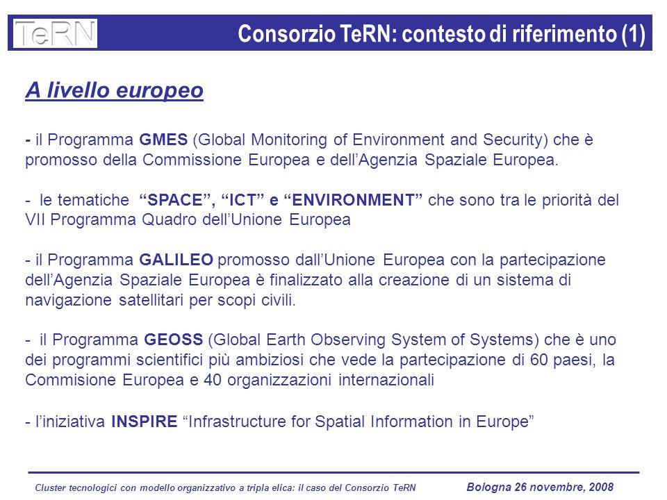 Cluster tecnologici con modello organizzativo a tripla elica: il caso del Consorzio TeRN Lagopesole 16 ottobre 2008 A livello europeo - il Programma GMES (Global Monitoring of Environment and Security) che è promosso della Commissione Europea e dellAgenzia Spaziale Europea.