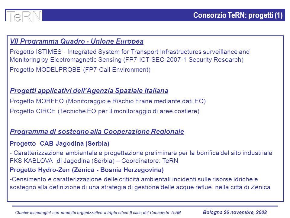 Cluster tecnologici con modello organizzativo a tripla elica: il caso del Consorzio TeRN Lagopesole 16 ottobre 2008 Consorzio TeRN: progetti (1) VII Programma Quadro - Unione Europea Progetto ISTIMES - Integrated System for Transport Infrastructures surveillance and Monitoring by Electromagnetic Sensing (FP7-ICT-SEC-2007-1 Security Research) Progetto MODELPROBE (FP7-Call Environment) Progetti applicativi dellAgenzia Spaziale Italiana Progetto MORFEO (Monitoraggio e Rischio Frane mediante dati EO) Progetto CIRCE (Tecniche EO per il monitoraggio di aree costiere) Programma di sostegno alla Cooperazione Regionale Progetto CAB Jagodina (Serbia) - Caratterizzazione ambientale e progettazione preliminare per la bonifica del sito industriale FKS KABLOVA di Jagodina (Serbia) – Coordinatore: TeRN Progetto Hydro-Zen (Zenica - Bosnia Herzegovina) -Censimento e caratterizzazione delle criticità ambientali incidenti sulle risorse idriche e sostegno alla definizione di una strategia di gestione delle acque reflue nella città di Zenica Bologna 26 novembre, 2008