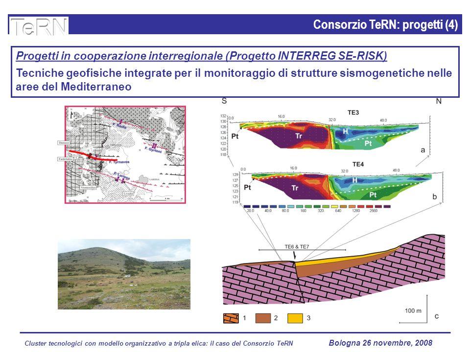 Cluster tecnologici con modello organizzativo a tripla elica: il caso del Consorzio TeRN Lagopesole 16 ottobre 2008 Consorzio TeRN: progetti (4) Progetti in cooperazione interregionale (Progetto INTERREG SE-RISK) Tecniche geofisiche integrate per il monitoraggio di strutture sismogenetiche nelle aree del Mediterraneo Bologna 26 novembre, 2008