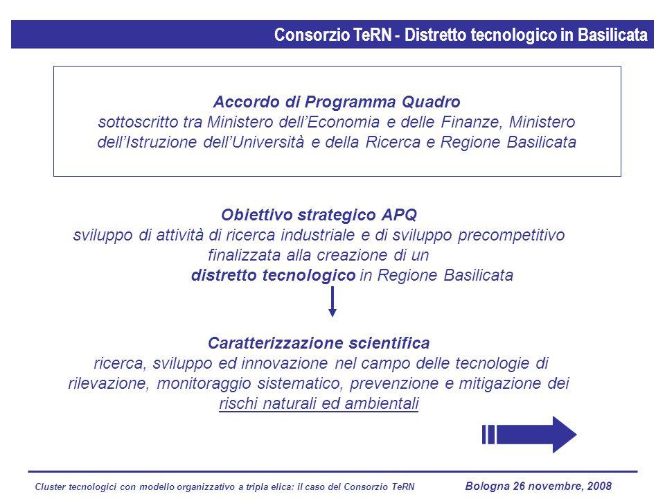 Cluster tecnologici con modello organizzativo a tripla elica: il caso del Consorzio TeRN Lagopesole 16 ottobre 2008 Obiettivo strategico APQ sviluppo