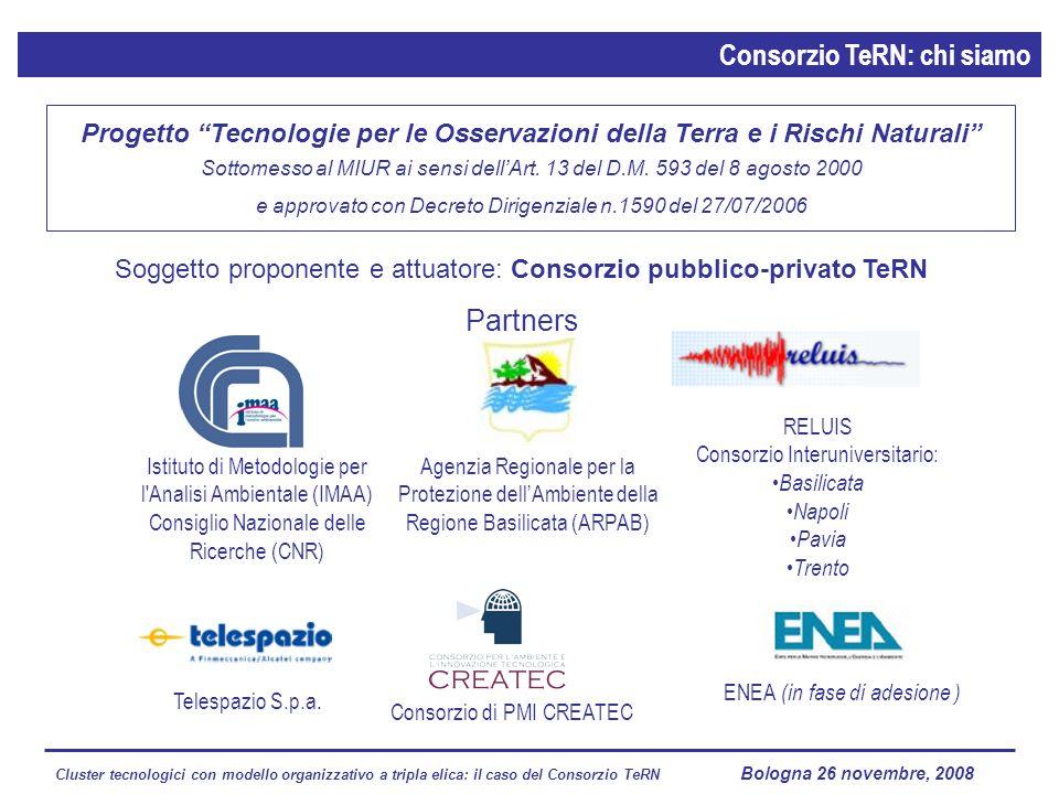 Cluster tecnologici con modello organizzativo a tripla elica: il caso del Consorzio TeRN Lagopesole 16 ottobre 2008 Soggetto proponente e attuatore: C
