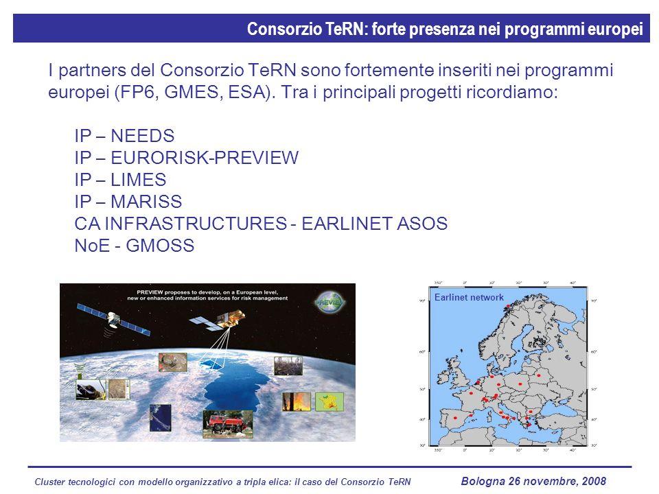 Cluster tecnologici con modello organizzativo a tripla elica: il caso del Consorzio TeRN Lagopesole 16 ottobre 2008 I partners del Consorzio TeRN sono fortemente inseriti nei programmi europei (FP6, GMES, ESA).