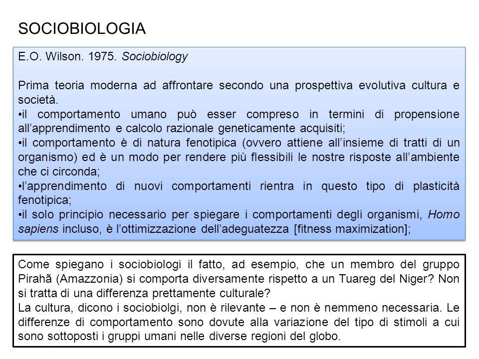 SOCIOBIOLOGIA E.O.Wilson. 1975.