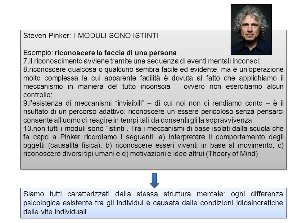 Steven Pinker: I MODULI SONO ISTINTI Esempio: riconoscere la faccia di una persona 7.il riconoscimento avviene tramite una sequenza di eventi mentali inconsci; 8.riconoscere qualcosa o qualcuno sembra facile ed evidente, ma è unoperazione molto complessa la cui apparente facilità è dovuta al fatto che applichiamo il meccanismo in maniera del tutto inconscia – ovvero non esercitiamo alcun controllo; 9.lesistenza di meccanismi invisibili – di cui noi non ci rendiamo conto – è il risultato di un percorso adattivo: riconoscere un essere pericoloso senza pensarci consente alluomo di reagire in tempi tali da consentirgli la sopravvivenza; 10.non tutti i moduli sono istinti.