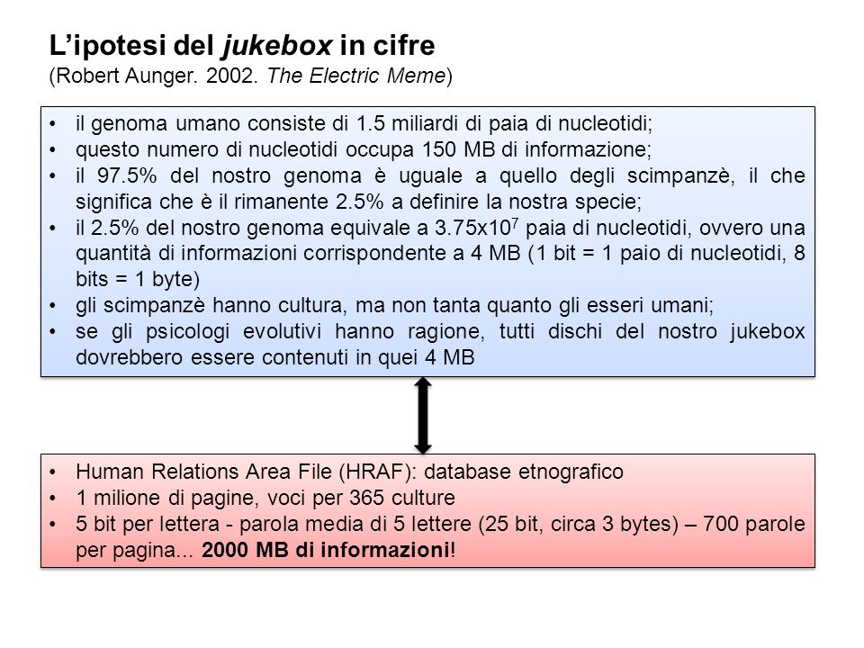 Lipotesi del jukebox in cifre (Robert Aunger