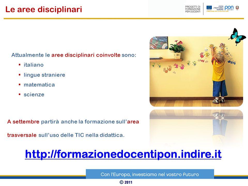 Attualmente le aree disciplinari coinvolte sono: italiano lingue straniere matematica scienze Le aree disciplinari A settembre partirà anche la formaz