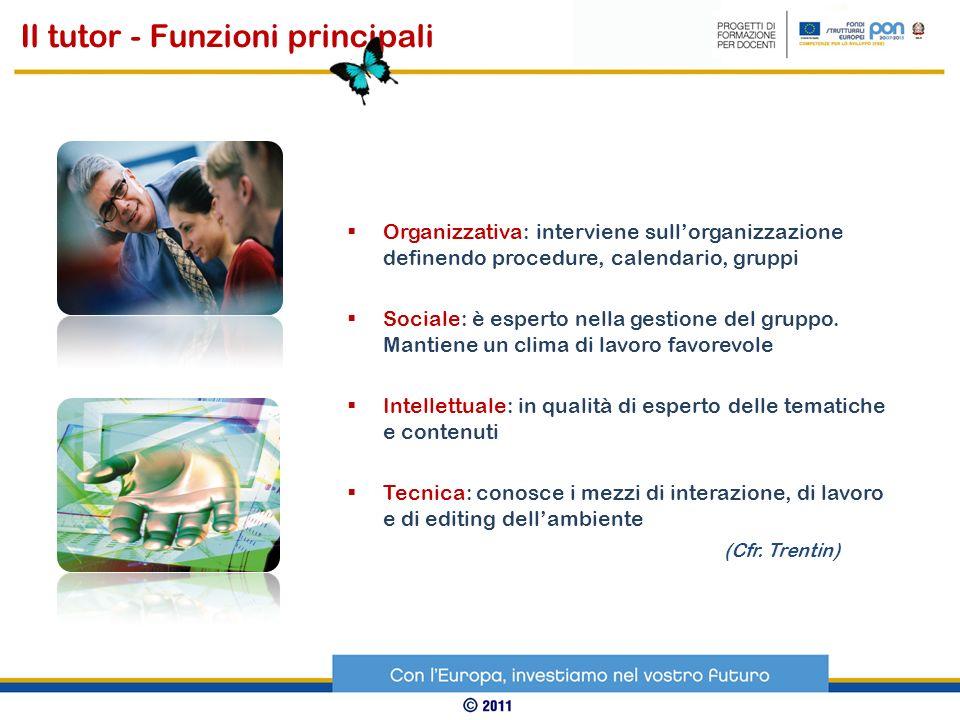 Organizzativa: interviene sullorganizzazione definendo procedure, calendario, gruppi Sociale: è esperto nella gestione del gruppo. Mantiene un clima d