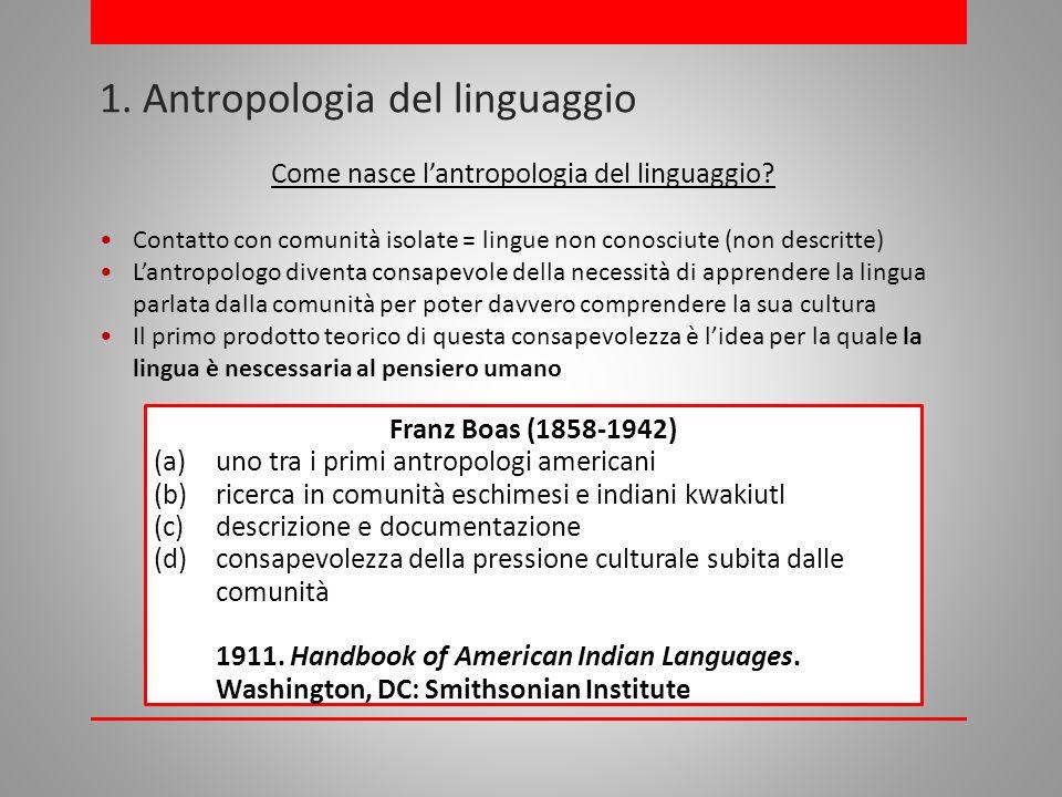 1.Antropologia del linguaggio Come nasce lantropologia del linguaggio.