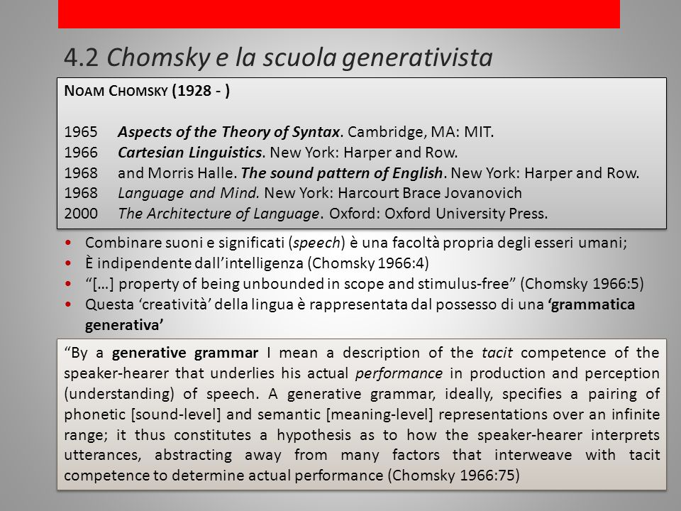 4.2 Chomsky e la scuola generativista N OAM C HOMSKY (1928 - ) 1965Aspects of the Theory of Syntax.