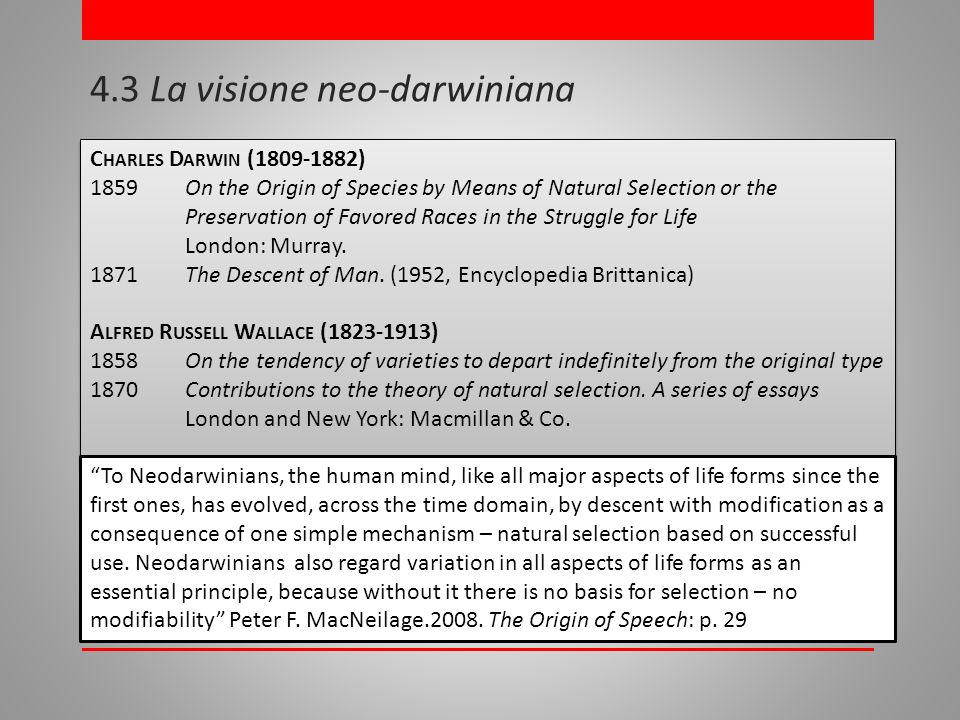 4.3 La visione neo-darwiniana C HARLES D ARWIN (1809-1882) 1859On the Origin of Species by Means of Natural Selection or the Preservation of Favored Races in the Struggle for Life London: Murray.