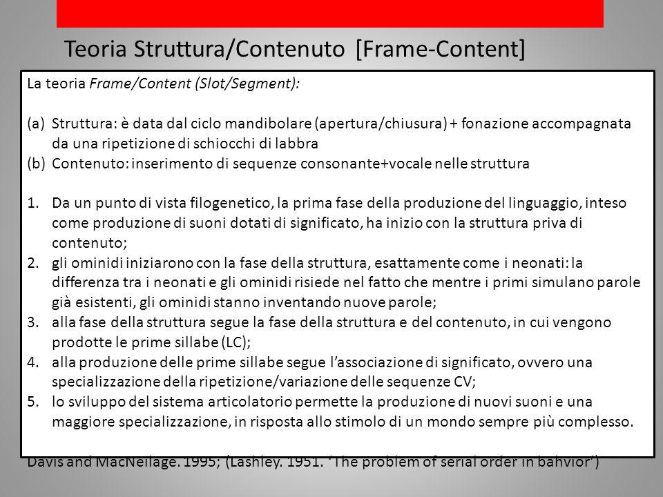 Teoria Struttura/Contenuto [Frame-Content] La teoria Frame/Content (Slot/Segment): (a)Struttura: è data dal ciclo mandibolare (apertura/chiusura) + fonazione accompagnata da una ripetizione di schiocchi di labbra (b)Contenuto: inserimento di sequenze consonante+vocale nelle struttura 1.Da un punto di vista filogenetico, la prima fase della produzione del linguaggio, inteso come produzione di suoni dotati di significato, ha inizio con la struttura priva di contenuto; 2.gli ominidi iniziarono con la fase della struttura, esattamente come i neonati: la differenza tra i neonati e gli ominidi risiede nel fatto che mentre i primi simulano parole già esistenti, gli ominidi stanno inventando nuove parole; 3.alla fase della struttura segue la fase della struttura e del contenuto, in cui vengono prodotte le prime sillabe (LC); 4.alla produzione delle prime sillabe segue lassociazione di significato, ovvero una specializzazione della ripetizione/variazione delle sequenze CV; 5.lo sviluppo del sistema articolatorio permette la produzione di nuovi suoni e una maggiore specializzazione, in risposta allo stimolo di un mondo sempre più complesso.