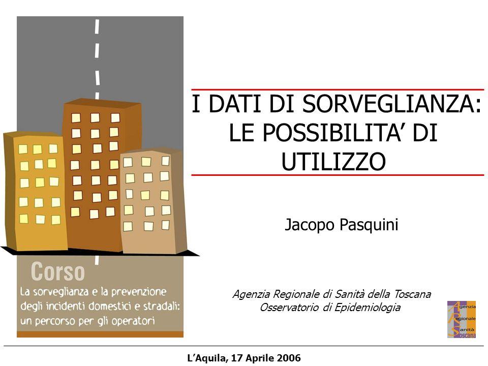 Agenzia Regionale di Sanità della Toscana Osservatorio di Epidemiologia LAquila, 17 Aprile 2006 Jacopo Pasquini I DATI DI SORVEGLIANZA: LE POSSIBILITA