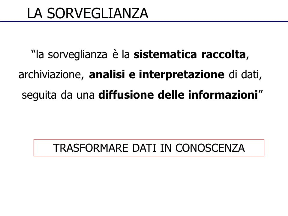 la sorveglianza è la sistematica raccolta, archiviazione, analisi e interpretazione di dati, seguita da una diffusione delle informazioni LA SORVEGLIA