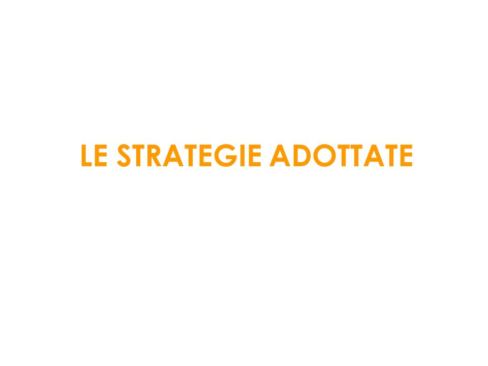 LE STRATEGIE ADOTTATE