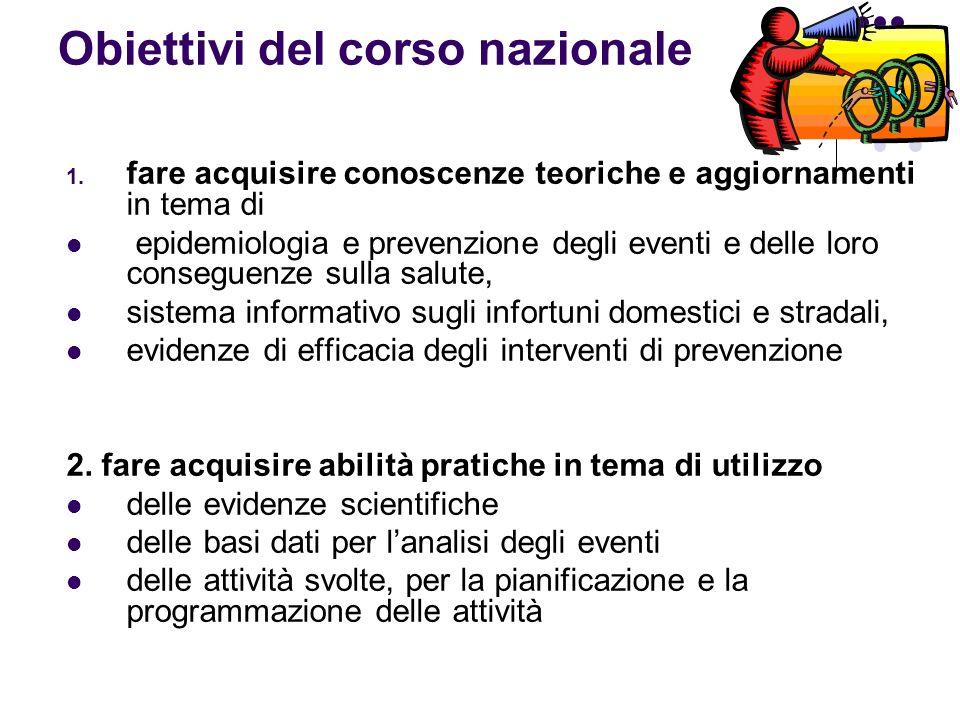 Obiettivi del corso nazionale 1. fare acquisire conoscenze teoriche e aggiornamenti in tema di epidemiologia e prevenzione degli eventi e delle loro c