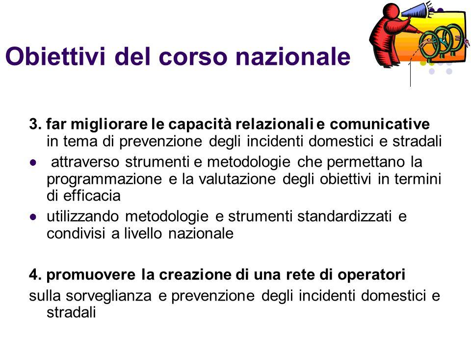 Obiettivi del corso nazionale 3. far migliorare le capacità relazionali e comunicative in tema di prevenzione degli incidenti domestici e stradali att