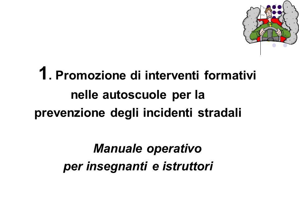 1. Promozione di interventi formativi nelle autoscuole per la prevenzione degli incidenti stradali Manuale operativo per insegnanti e istruttori
