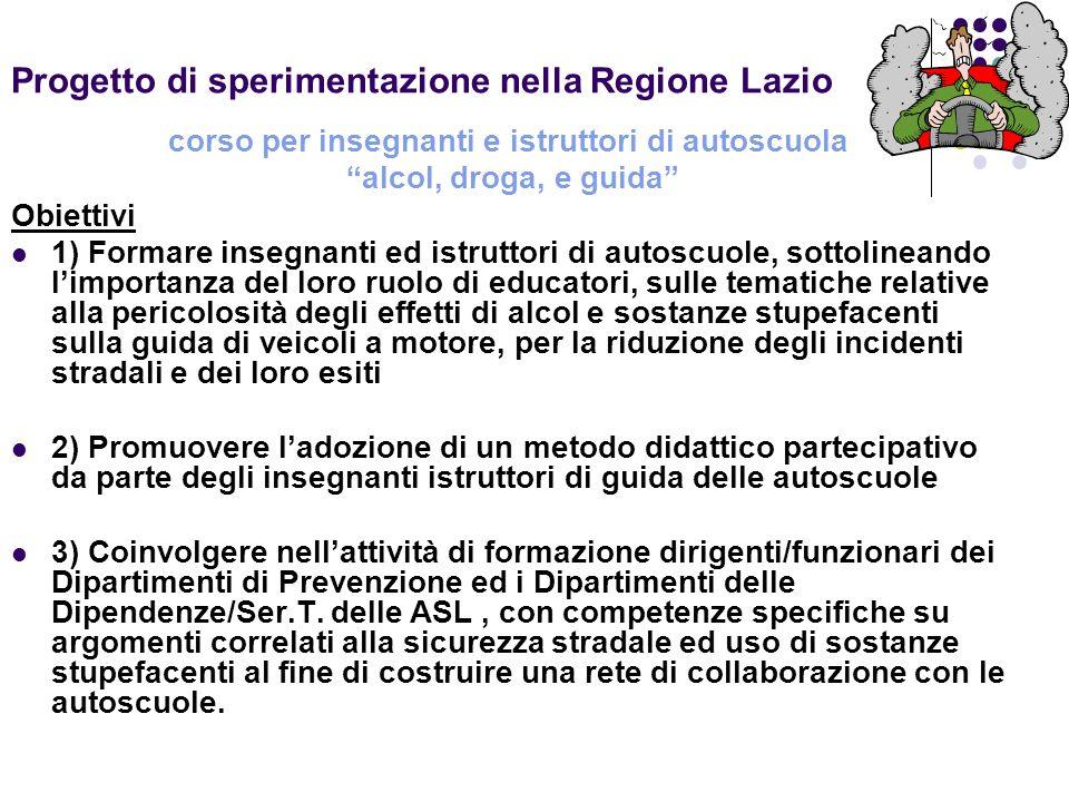 Progetto di sperimentazione nella Regione Lazio corso per insegnanti e istruttori di autoscuola alcol, droga, e guida Obiettivi 1) Formare insegnanti