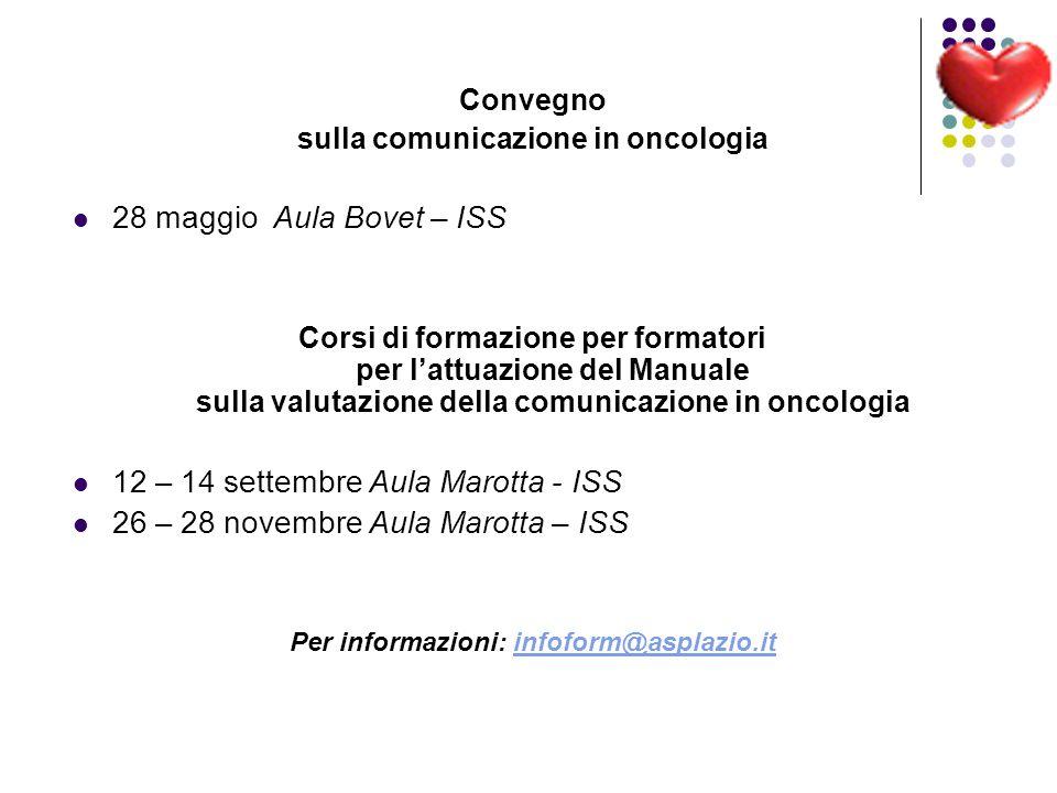 Convegno sulla comunicazione in oncologia 28 maggio Aula Bovet – ISS Corsi di formazione per formatori per lattuazione del Manuale sulla valutazione d