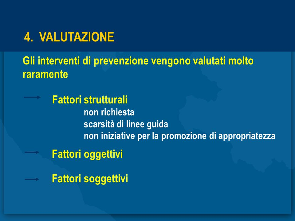 4. VALUTAZIONE Gli interventi di prevenzione vengono valutati molto raramente Fattori strutturali non richiesta scarsità di linee guida non iniziative