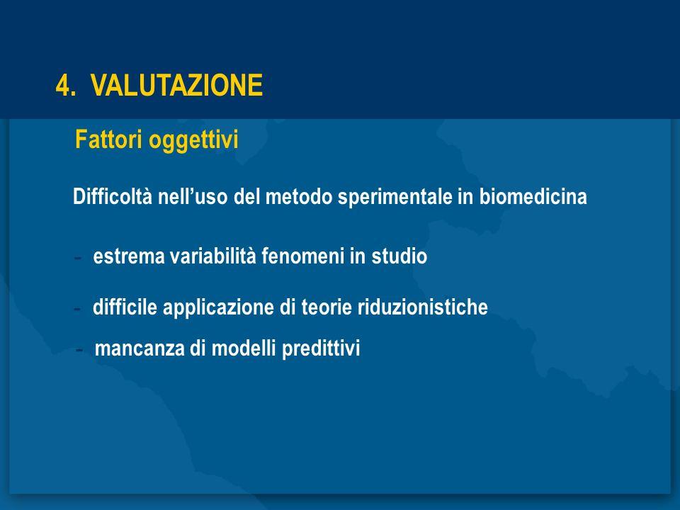 4. VALUTAZIONE Fattori oggettivi Difficoltà nelluso del metodo sperimentale in biomedicina - estrema variabilità fenomeni in studio - difficile applic