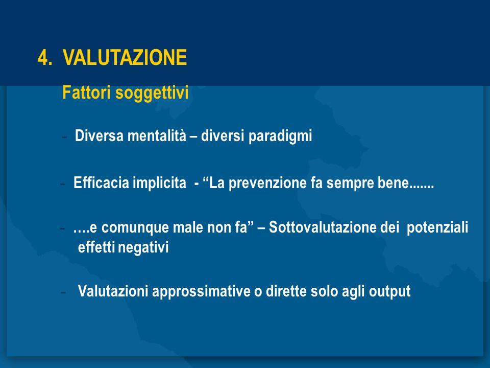4. VALUTAZIONE Fattori soggettivi - Diversa mentalità – diversi paradigmi - Efficacia implicita - La prevenzione fa sempre bene....... - ….e comunque