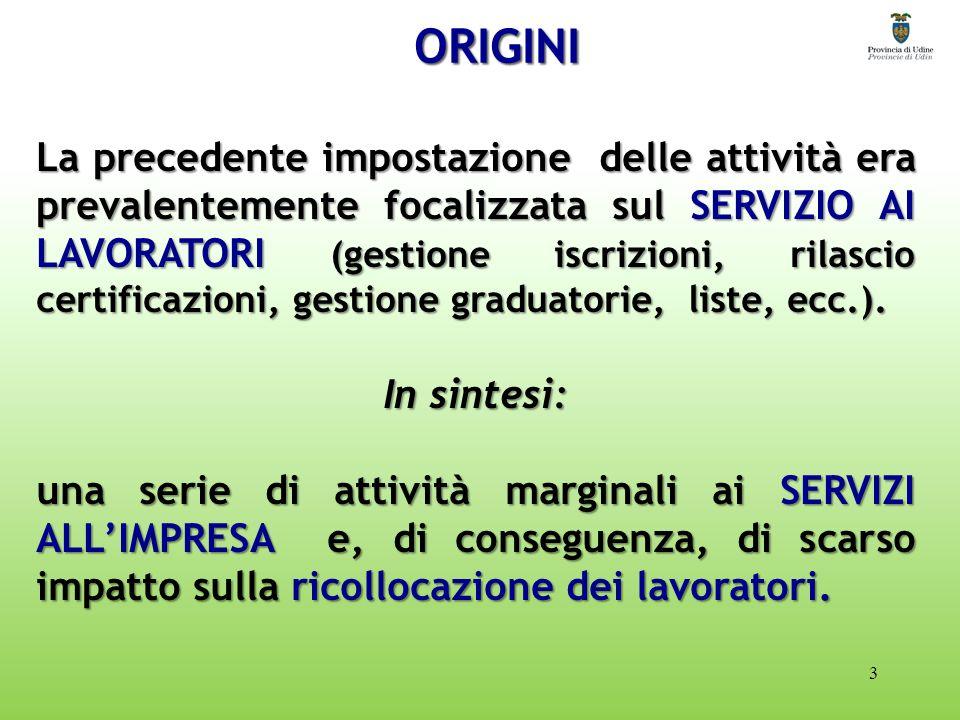ORIGINI 3 La precedente impostazione delle attività era prevalentemente focalizzata sul SERVIZIO AI LAVORATORI (gestione iscrizioni, rilascio certificazioni, gestione graduatorie, liste, ecc.).