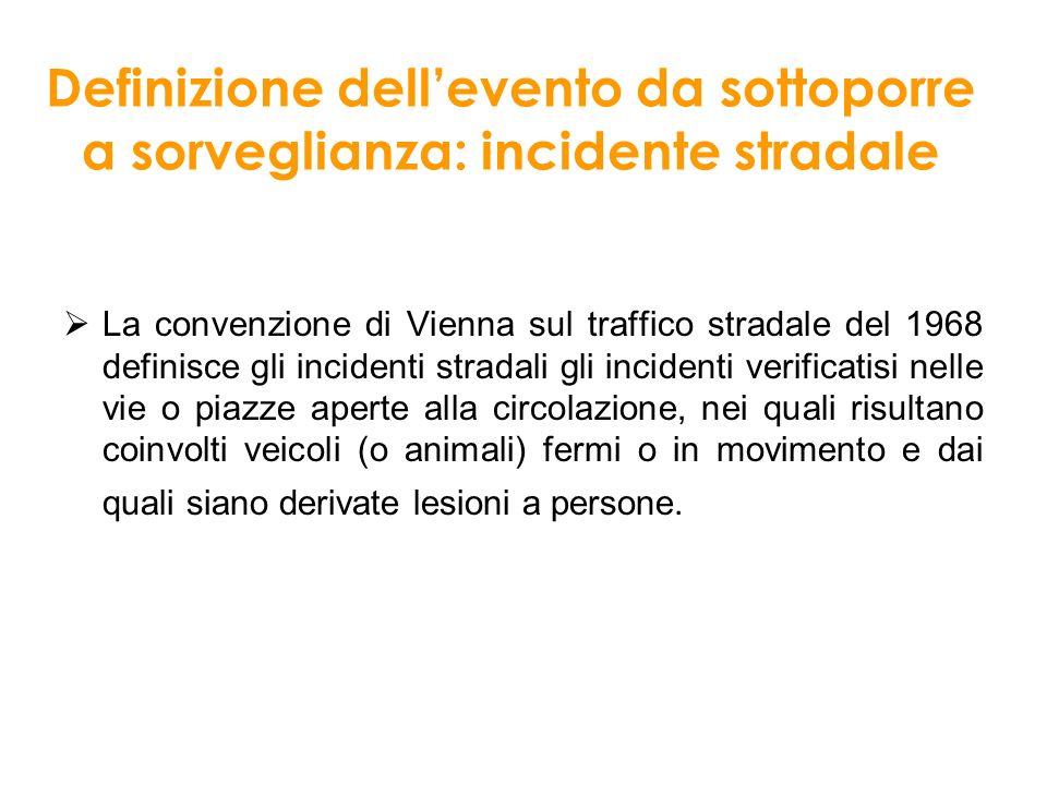 Definizione dellevento da sottoporre a sorveglianza: incidente stradale La convenzione di Vienna sul traffico stradale del 1968 definisce gli incident