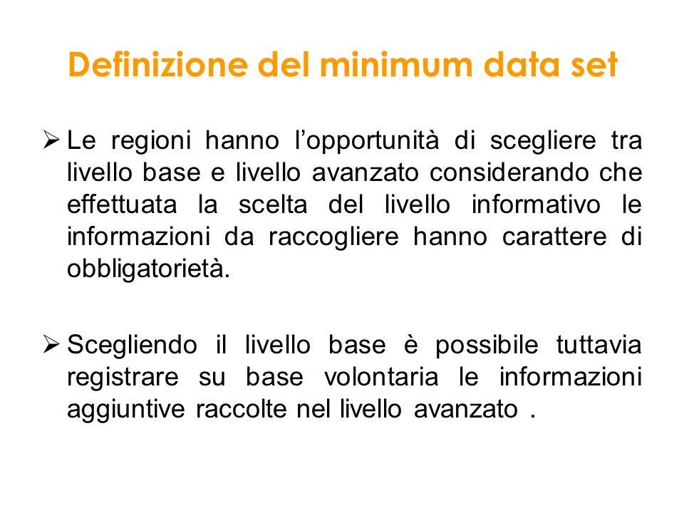 Definizione del minimum data set Le regioni hanno lopportunità di scegliere tra livello base e livello avanzato considerando che effettuata la scelta