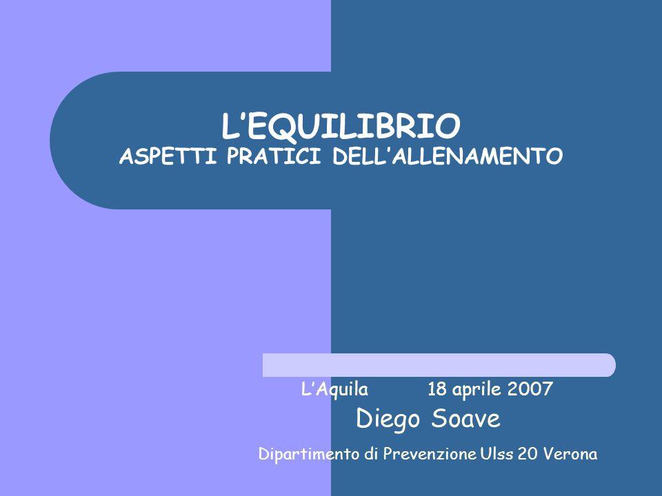 LEQUILIBRIO ASPETTI PRATICI DELLALLENAMENTO LAquila 18 aprile 2007 Diego Soave Dipartimento di Prevenzione Ulss 20 Verona