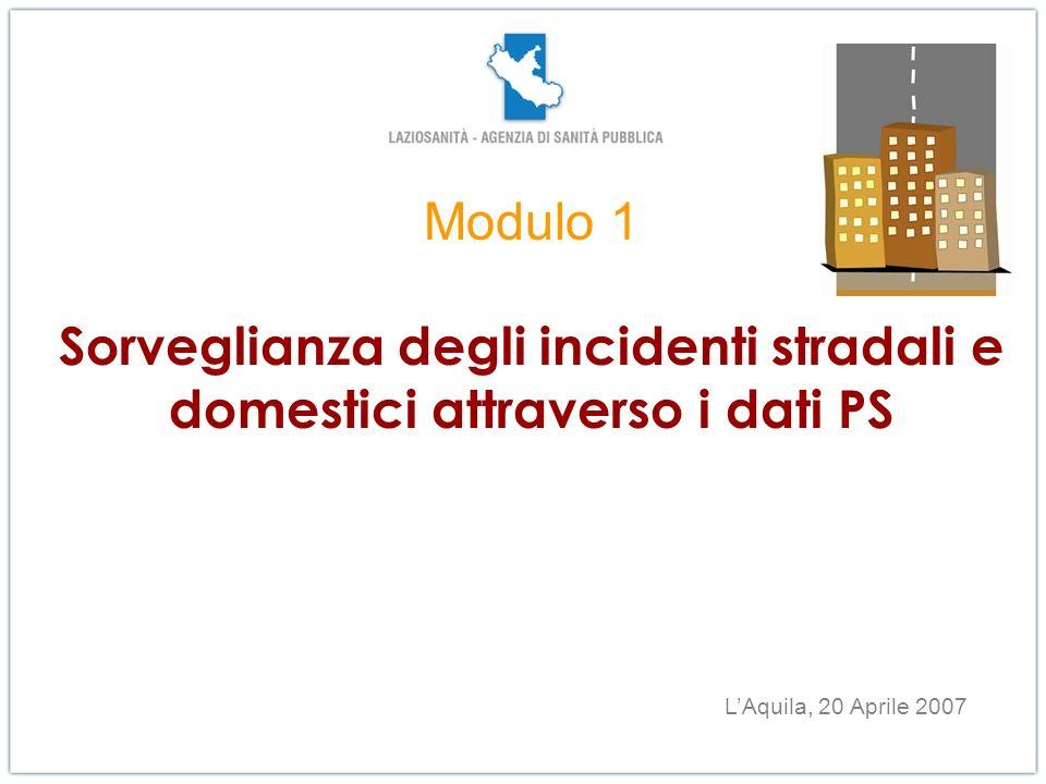 Modulo 1 Sorveglianza degli incidenti stradali e domestici attraverso i dati PS LAquila, 20 Aprile 2007