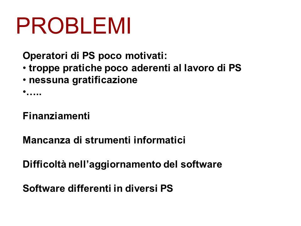 PROBLEMI Operatori di PS poco motivati: troppe pratiche poco aderenti al lavoro di PS nessuna gratificazione …..