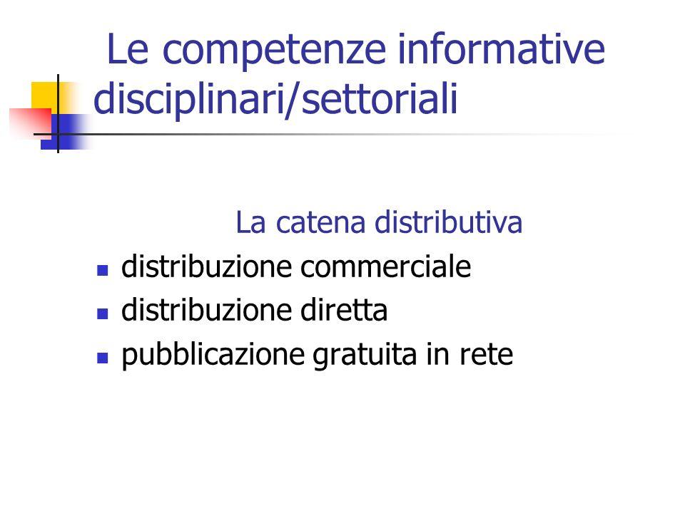 Le competenze informative disciplinari/settoriali La catena distributiva distribuzione commerciale distribuzione diretta pubblicazione gratuita in rete