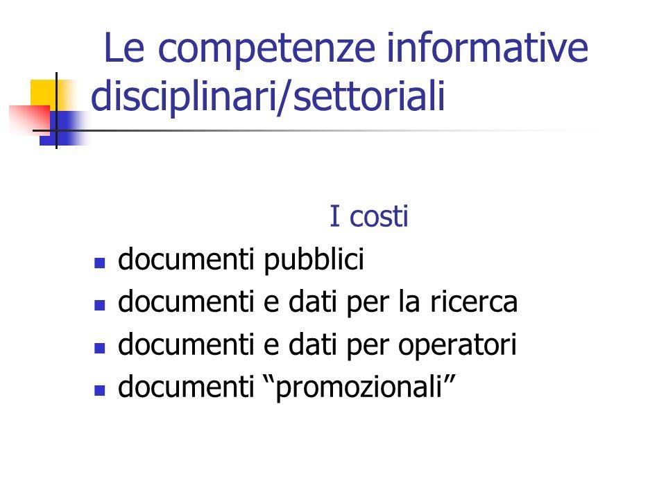 Le competenze informative disciplinari/settoriali I costi documenti pubblici documenti e dati per la ricerca documenti e dati per operatori documenti promozionali