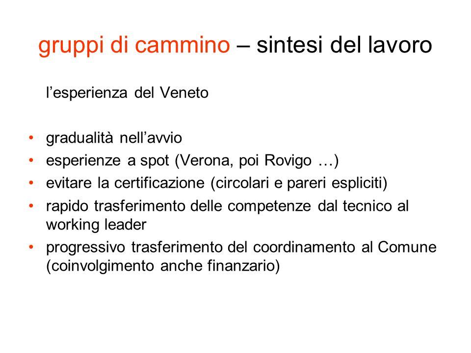 gruppi di cammino – sintesi del lavoro lesperienza del Veneto gradualità nellavvio esperienze a spot (Verona, poi Rovigo …) evitare la certificazione